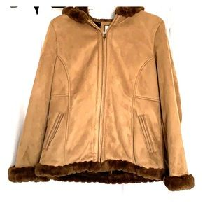 Microfiber faux suede and fur trimmed jacket